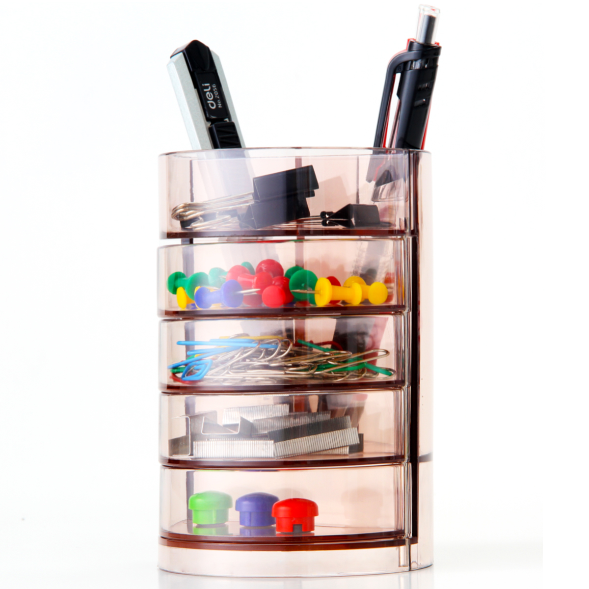Deli stationery Deli906 four layers of transparent pen pen creative fashion multifunction pen pen pen student office