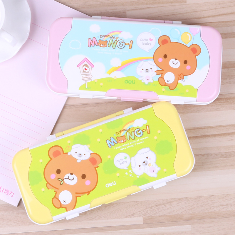 Deli stationery new fashion multifunction plastic pencil case stationery large capacity korean students male and female students pencil case