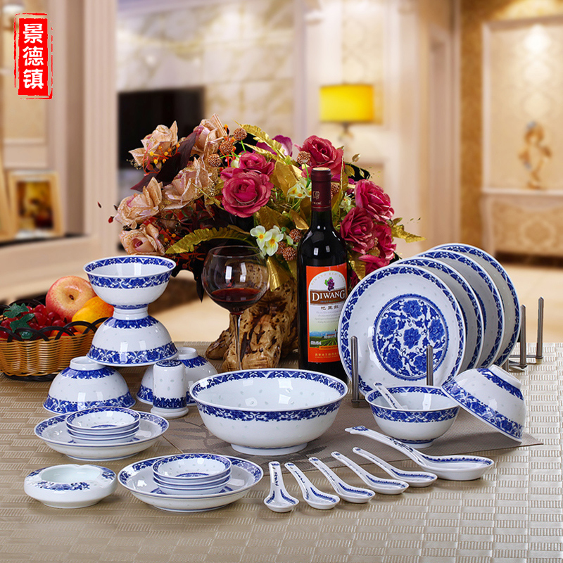 Delicate blue and white jingdezhen ceramic cutlery set 34 head of household 6 people with a bowl dishes chinese dishes suit