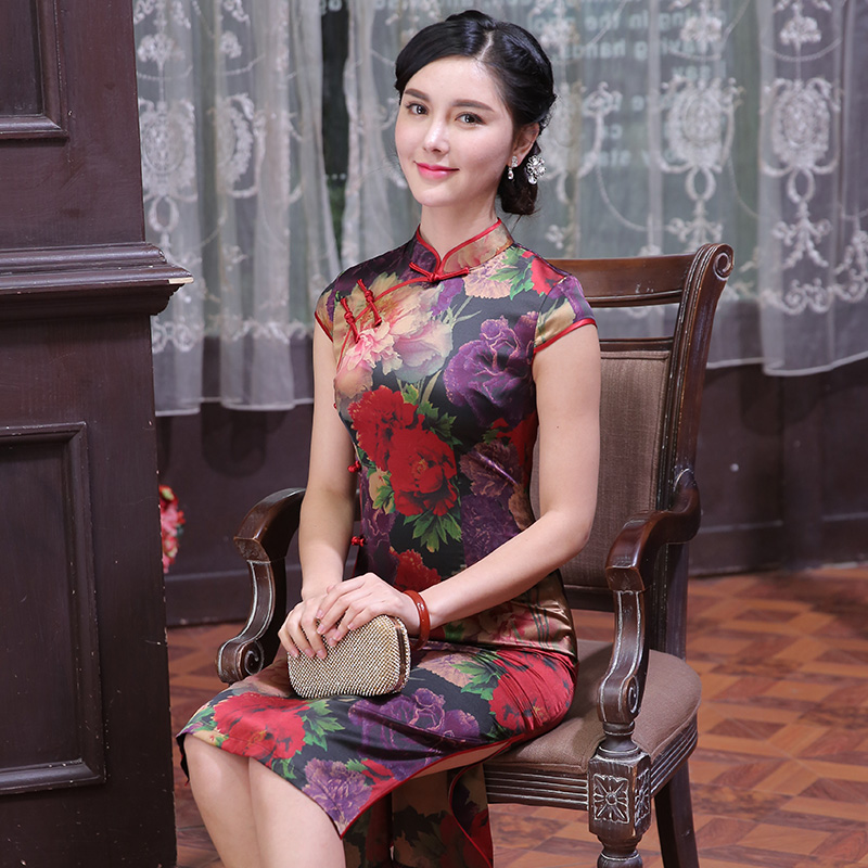 Delicate brandtology 2016 new autumn improved cheongsam dress retro long section of the silk ms. qipaos Q1694