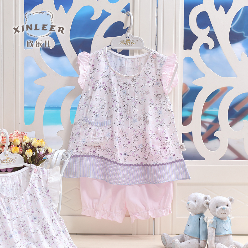 Delight children summer new girls fashion casual short sleeve shorts suit female baby cotton baby clothing female summer