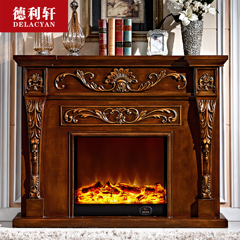 Dellisart xuan furniture 1.2/1.5 m remote wood fireplace electric fireplace fireplace decoration cabinet continental shelf living room 8100