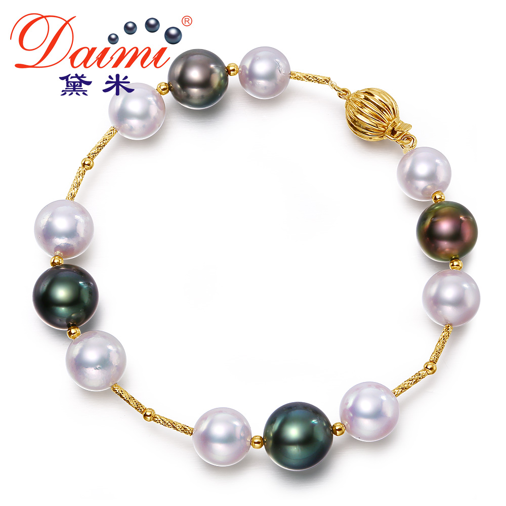 Demi perfect circle jewelry chun ya 10mm perfect circle tahitian black pearls 8-40m3/k gold akoya seawater pearl bracelet