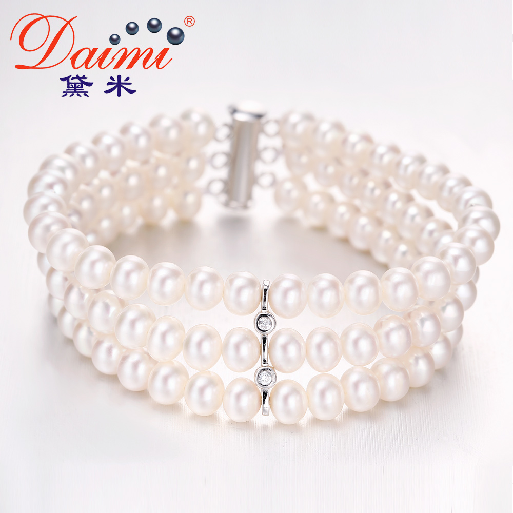 Demi perfect circle jewelry xin ya 6-11mm nearly round glare 7mm days 925 silver natural freshwater pearl bracelet genuine forsolving design