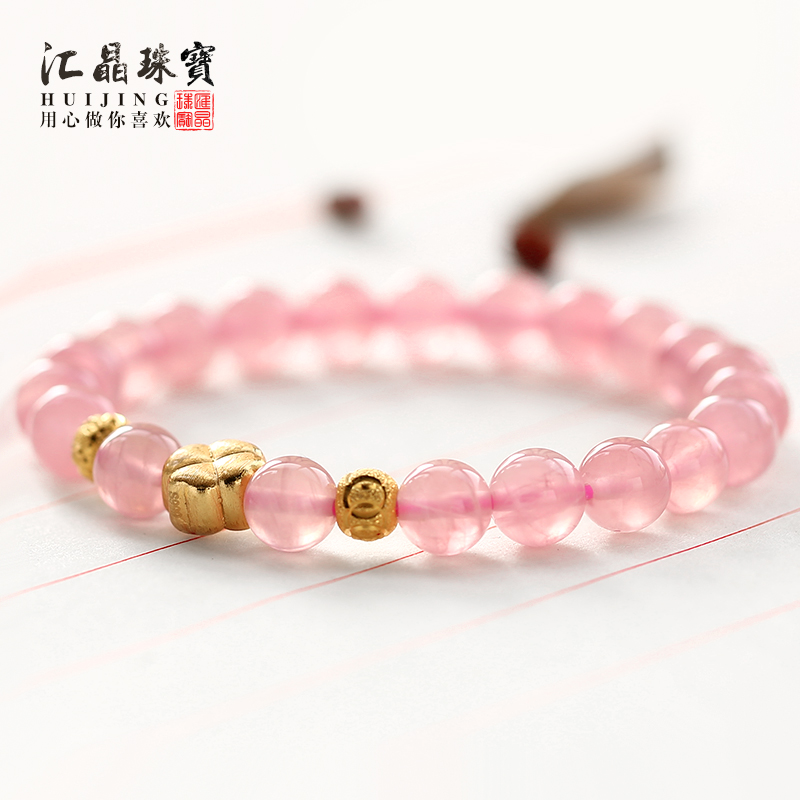 Department of crystal natural pink rose quartz crystal bracelet female bracelet lap nb_4o clover bracelets jewelry japan and south korea sweet pink horse