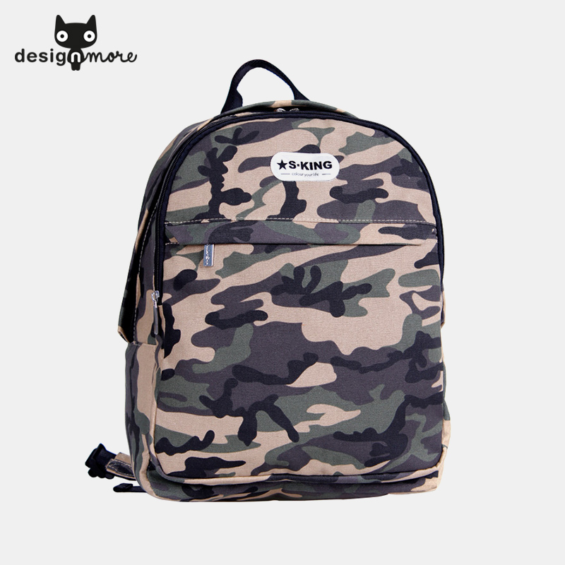 Design cat sking college street shoulder bag korean tidal student camouflage canvas backpack schoolbag computer bag
