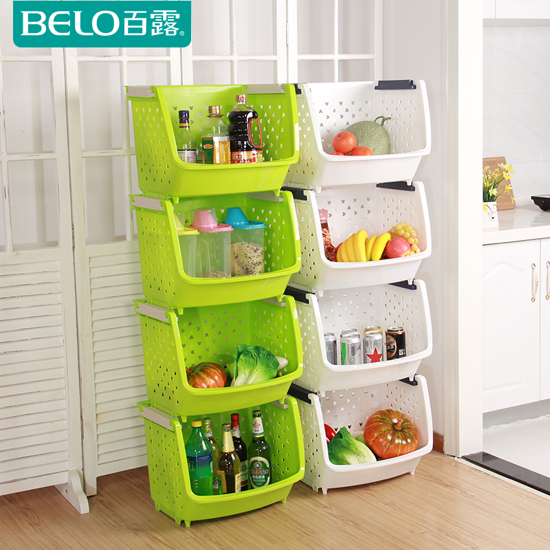 Dew heightening increase the number of fruits and vegetables kitchen shelving storage rack storage rack finishing kitchen storage basket