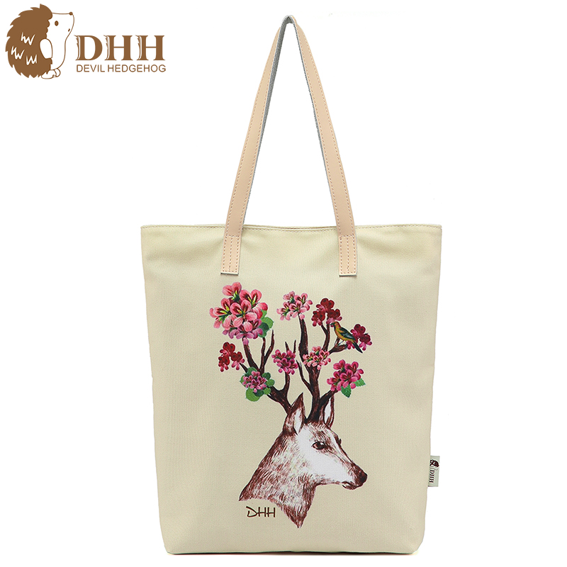 Dhh canvas bag casual korean version of the new shopping bags bags minimalist art printing portable shoulder bag handbags