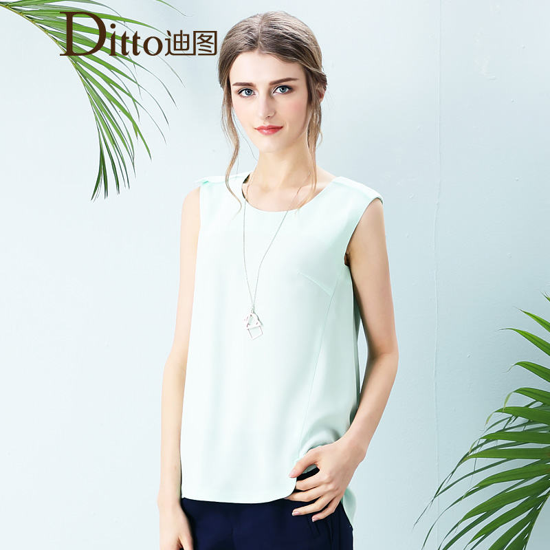 Di figure ladies chiffon blouse chiffon shirt sleeveless chiffon shirt female summer 2015 new loose chiffon shirt summer women