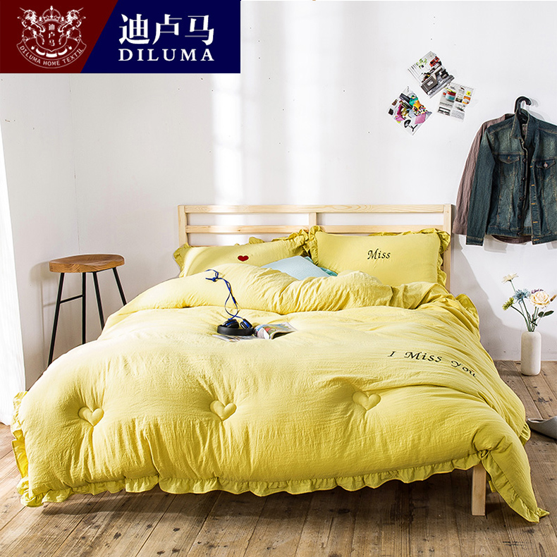Di luma korean washed jeans embroidered personalized embroidered quilt thick warm winter is the core single double special offer