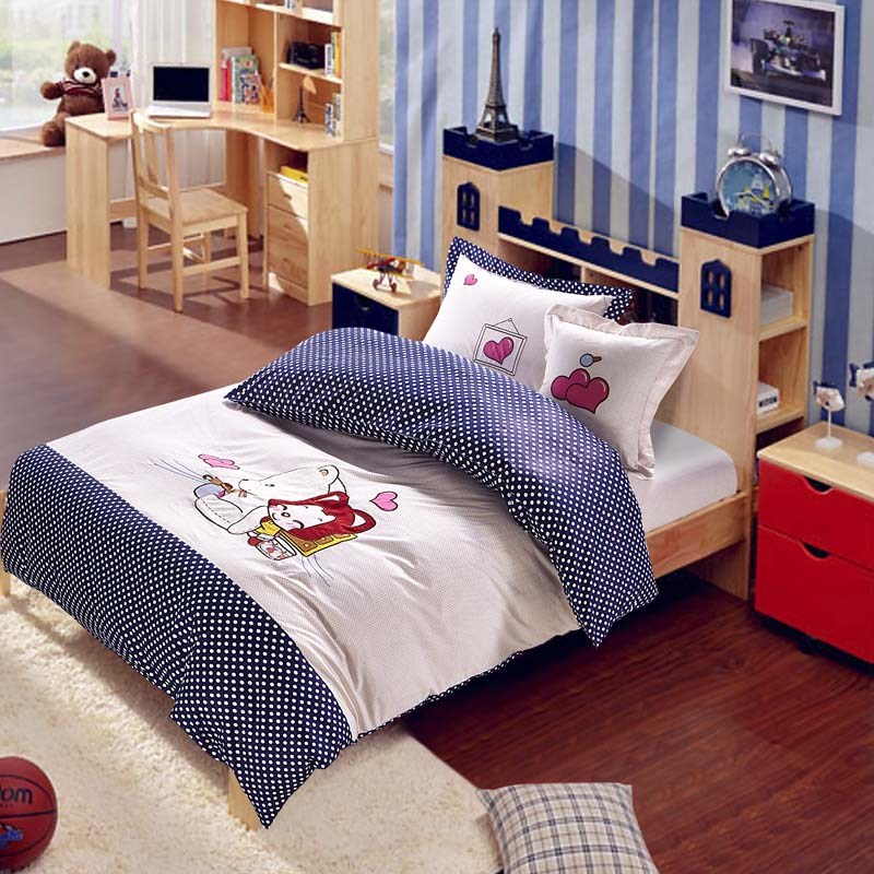 Di mantle korean textile cotton bedding a family of four children's model room polka dot cartoon embroidered pure love