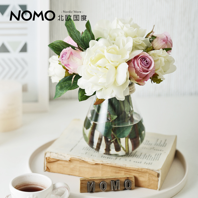 Di nordic countries epp transparent glass vase + simulation rose peony floral ornaments set wedding suit
