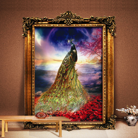 Diamond diamond stitch peacock painting full diamond drill stick painting show of the new king of the stone embroidery stick drill painting the living room