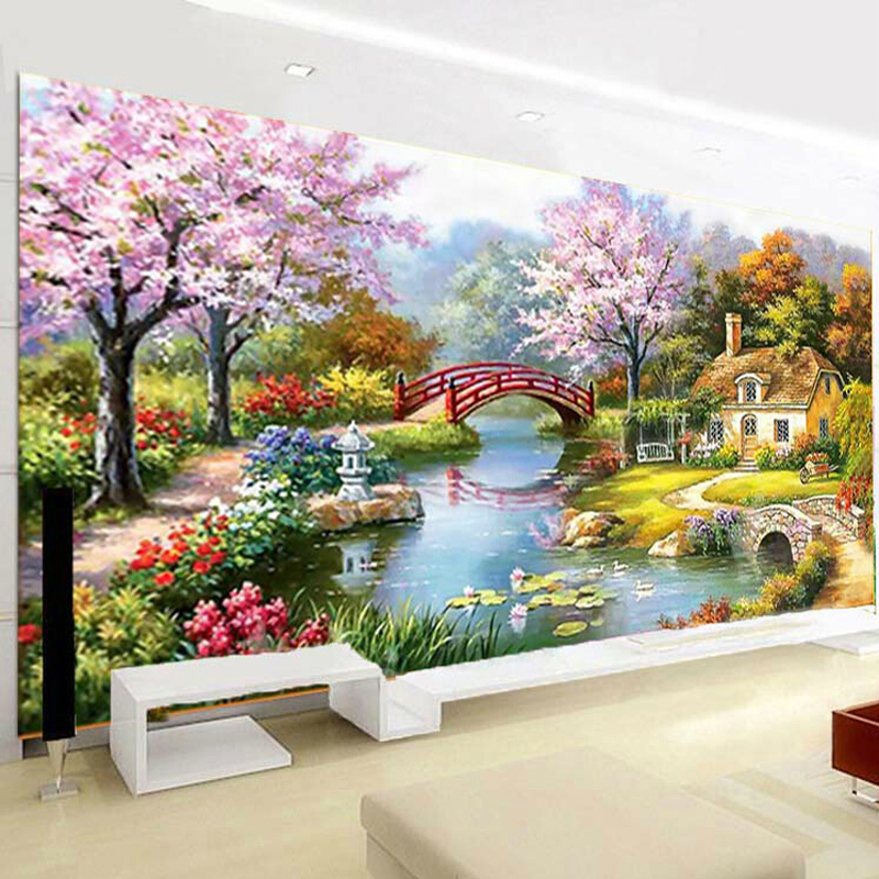Diamond painting fantasy continental garden cottage home full of diamond stitch new living room 5d square diamond diamond diamond embroidery 2 m