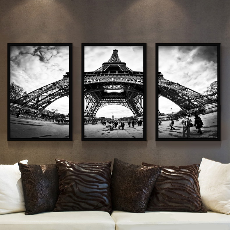 Diamond painting full of diamond drilling simple european style eiffel tower triple modern decorative painting the living room diamond paste diamond drill stitch point