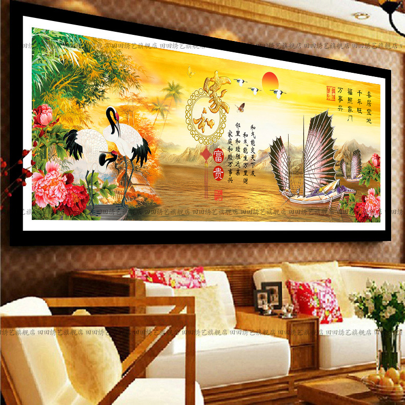 Diamond painting the living room full of diamond drill square diamond embroidery substantial new living room landscape smooth sailing home and wealth 2 m