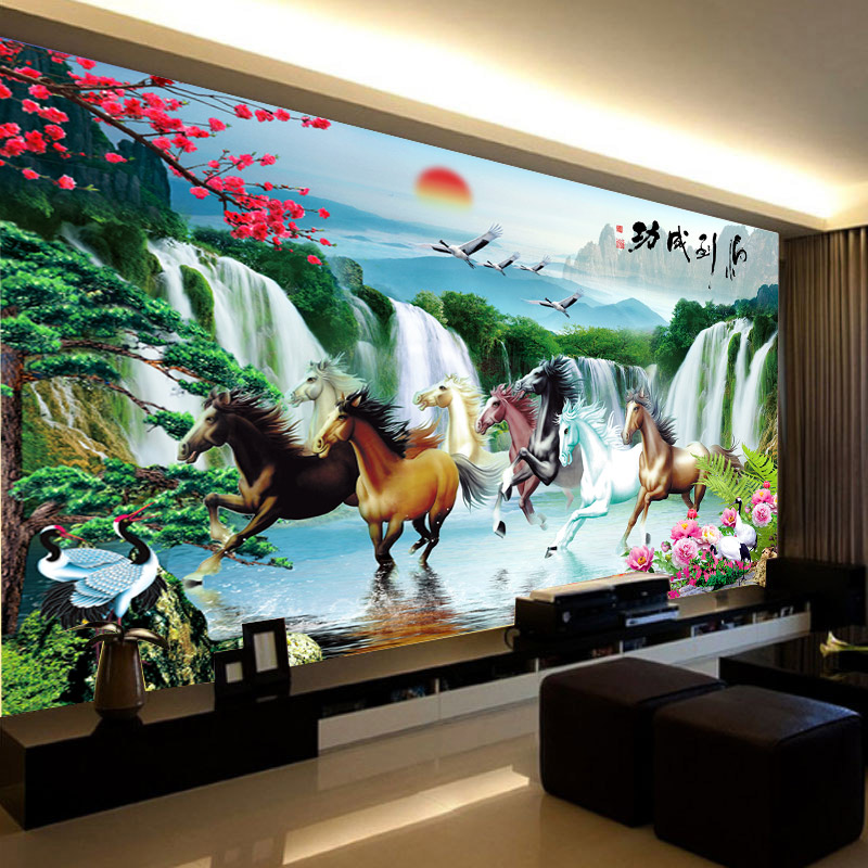 Diamond paste painting full diamond stitch point diamond embroidered square diamond drill new living room eight horses madaochenggong 2 m all posted