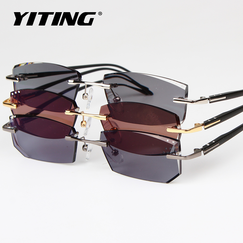 Diamond trimming glasses presbyopia myopia frames men chromotropic rimless glasses diamond business framework