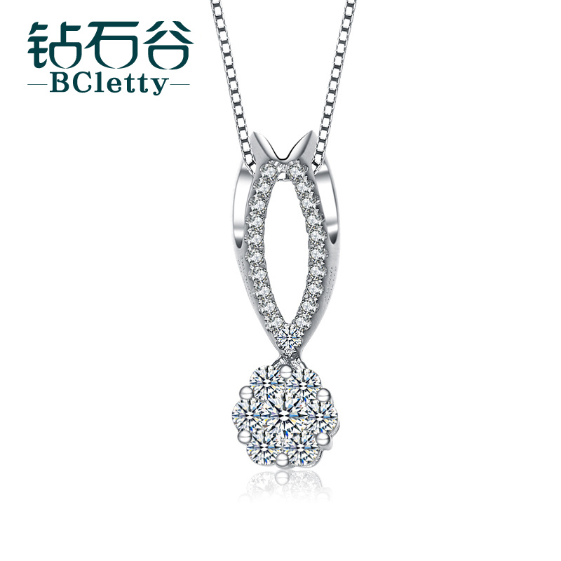 Diamond valley 0.28 karat k white gold diamond pendant luxury group inlaid pendant in sterling silver pendant in sterling silver pendant inlaid female group