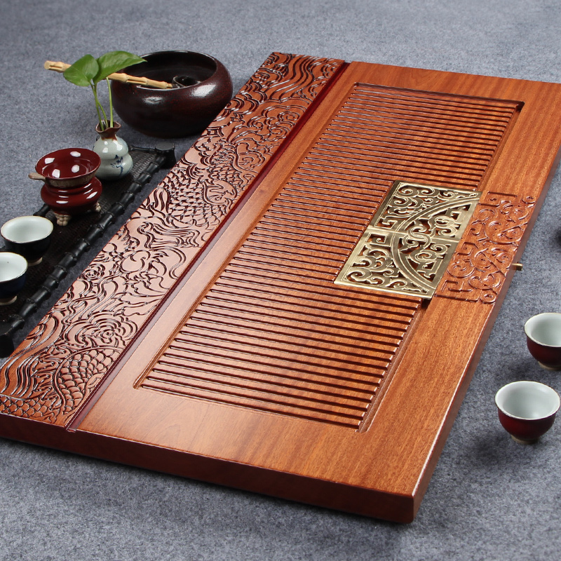 Diao inblock morbility of african sapele wood tea tray tea sea kung fu tea red oversized wooden tea sets tea sea