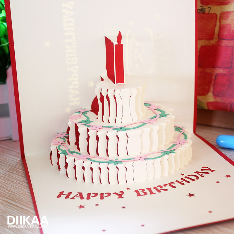 Diikaa creative handmade 3d stereo staff birthday cards greeting card business greeting card paper carving personalized custom cards