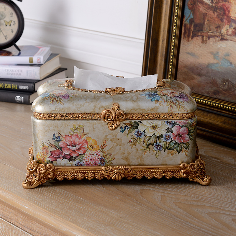 Dila european retro resin tissue box pumping tray creative home living room coffee table creative decorations ornaments