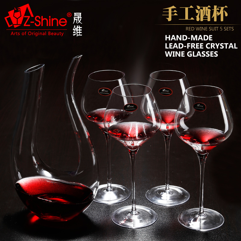 Dimensional z-shine sheng shipping handmade crystal glass red wine goblet harp decanter set send cupholders