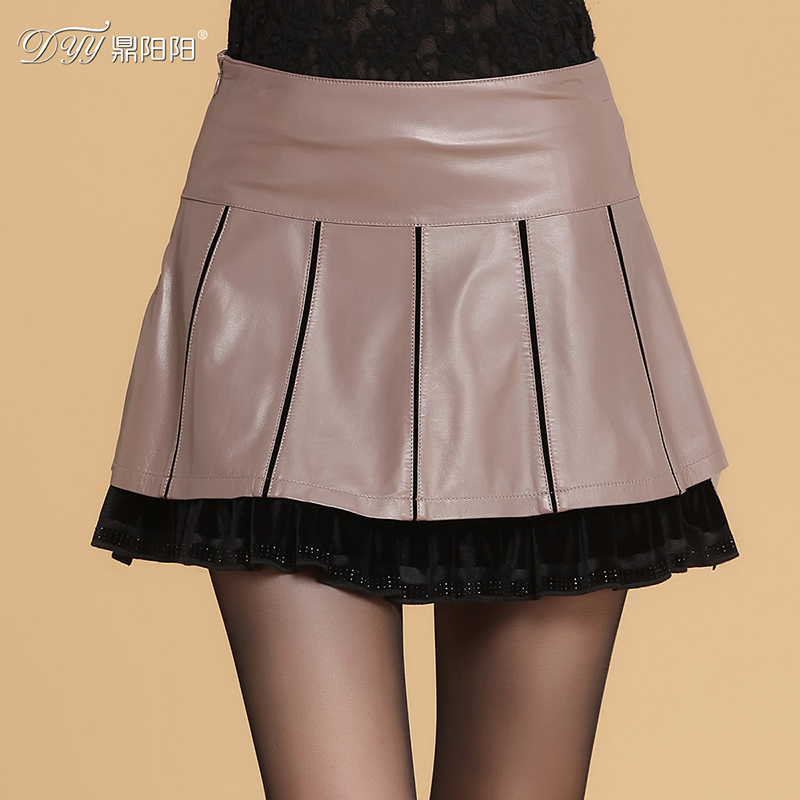 Ding yang yang 2015 winter new haining sheep skin leather skirt leather skirt ladies stitching waist skirts