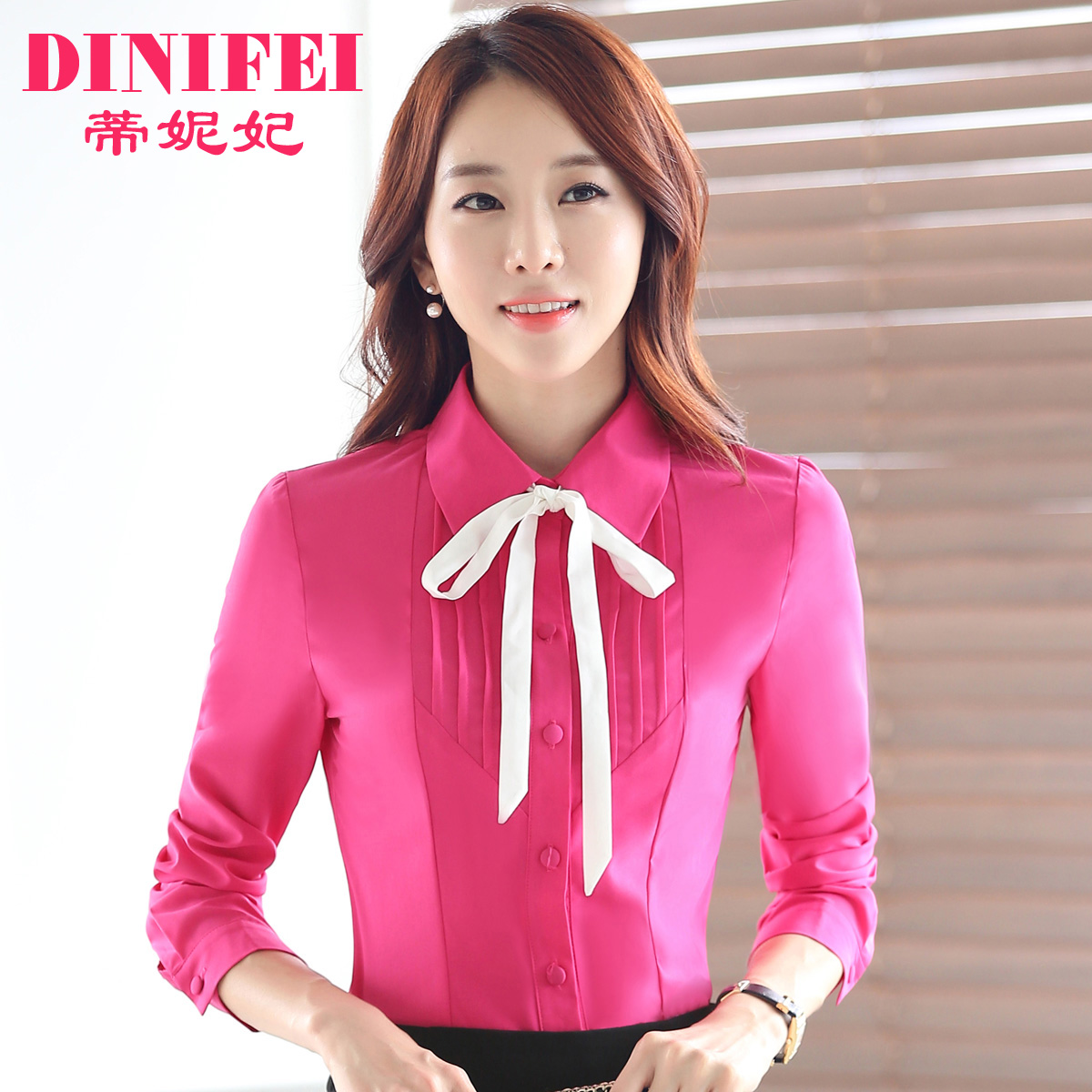 Dini dini fei fei new autumn and winter wear women's ol ladies long sleeve shirt bow shirt slim