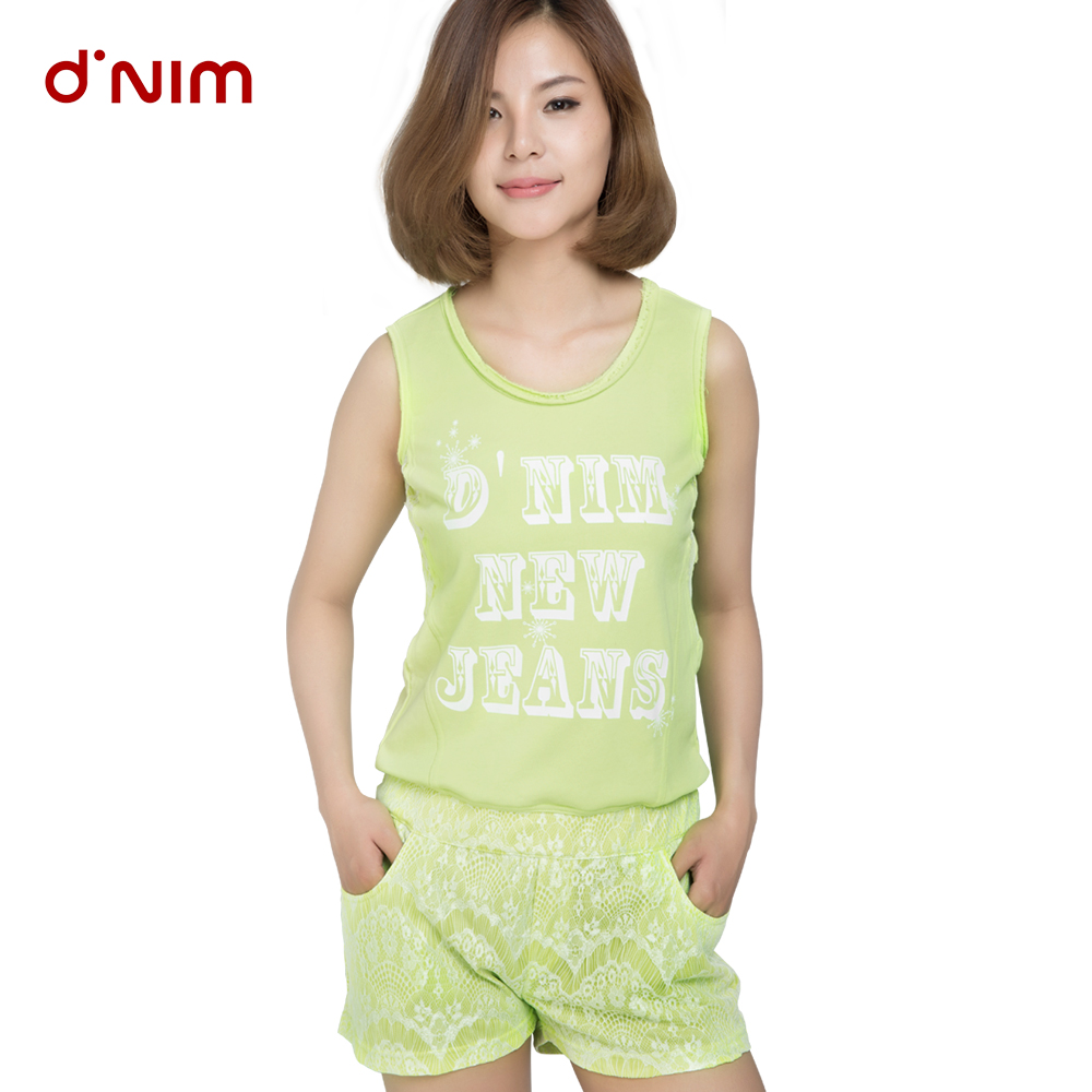 Dini mu 2016 summer new ms. loose casual round neck cotton piece jumpsuit shorts shorts tide