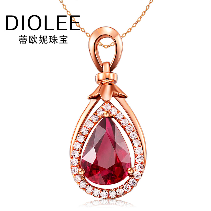Diou ni droplets red tourmaline gemstone jewelry 1.6 karat k gold colored gemstone diamond cluster pendant