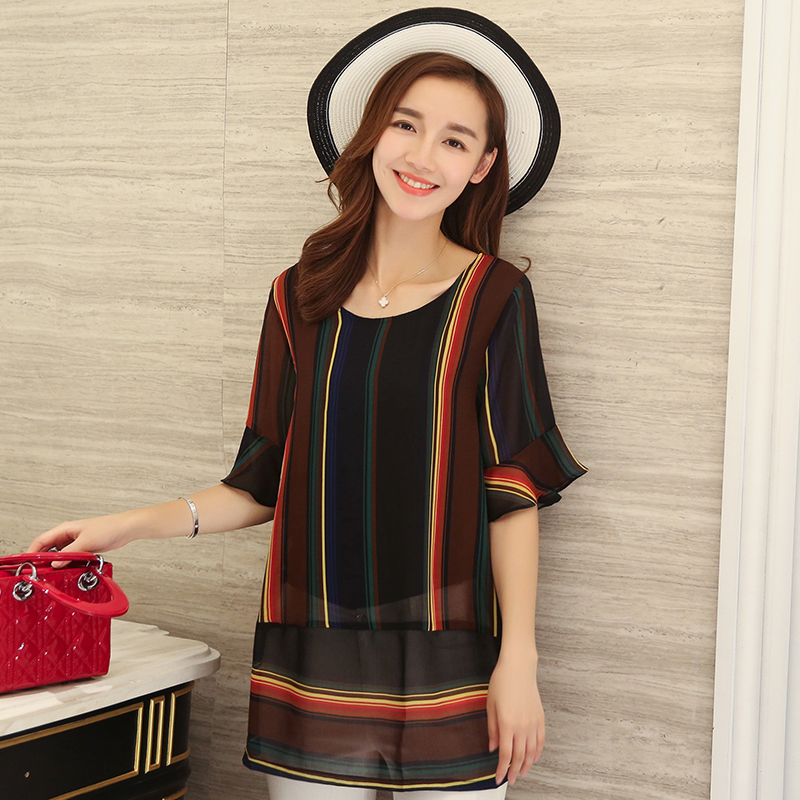 [Discounted] 2016 summer new women korean stitching striped short sleeve chiffon shirt bottoming female t-shirt