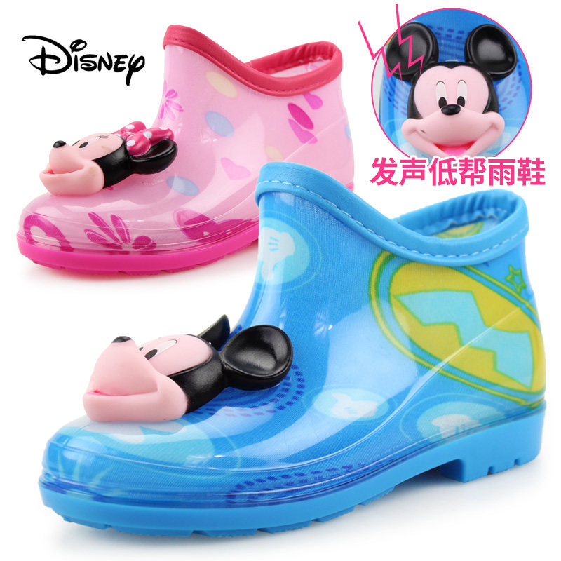 Disney children's rain boots boys rain boots wellies rain boots duantong big tong xuesheng small children water shoes baby slip rubber overshoes