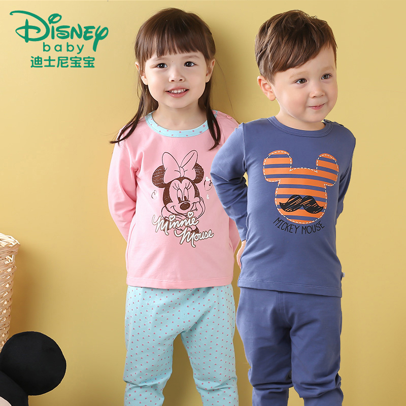 Disney children's thermal underwear sets baby qiuyiqiuku baby warm clothing in autumn and winter pajamas for boys and girls