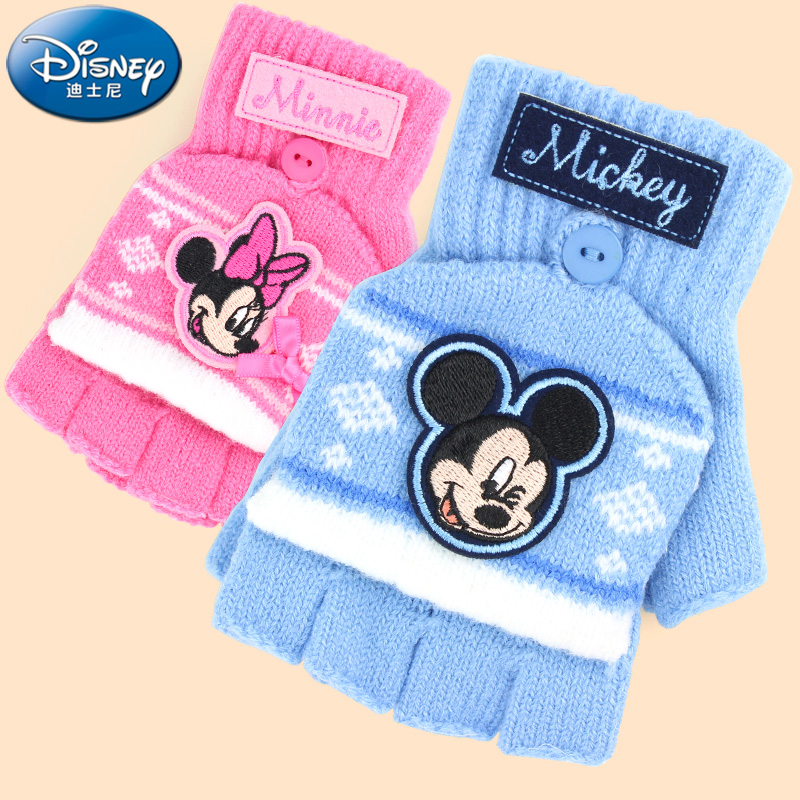 451af70b8 Get Quotations · Disney children's winter warm gloves half finger flip  gloves cute knit wool baby boys and girls
