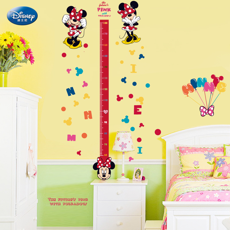 Disney nursery decor removable wall stickers cartoon children's room bedroom wall stickers measuring height stickers wall stickers mickey