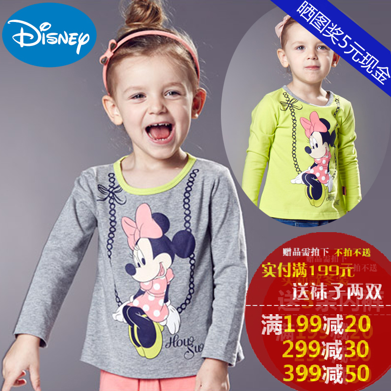 Disney sleeved t-shirt shirt spring wild bottoming shirt girls children's cartoon t-shirt round neck sweaters in children