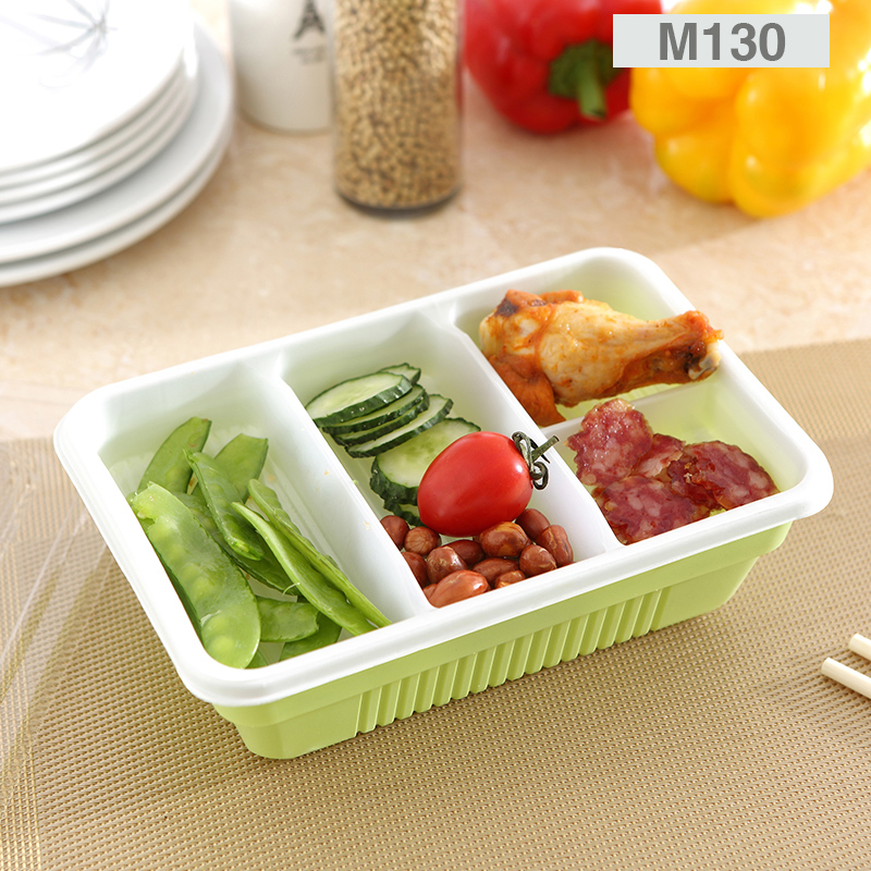 Disposable double plastic lunch box lunch box snack takeaway lunch boxes packed box lunch box rectangular box snack box