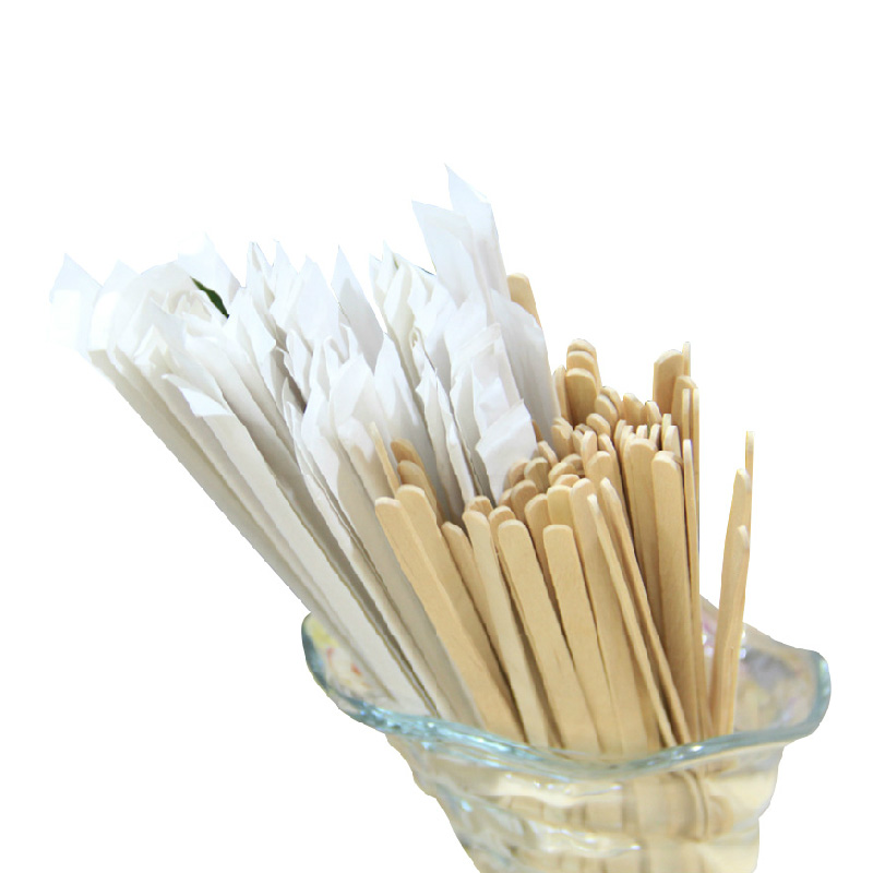 Disposable wooden wooden coffee stir sticks tune single branch paper sleeve individually wrapped 50/bag 14 cm