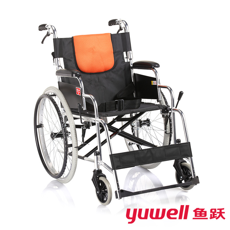 Diving wheelchair h053c strengthen aluminum folding lightweight wheelchair elderly folded back with manual wheelchair