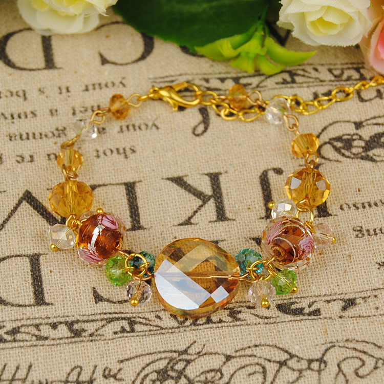 Diy handmade beaded jewelry material package/finished handmade glass crystal bracelet retro style palace ingot sheet