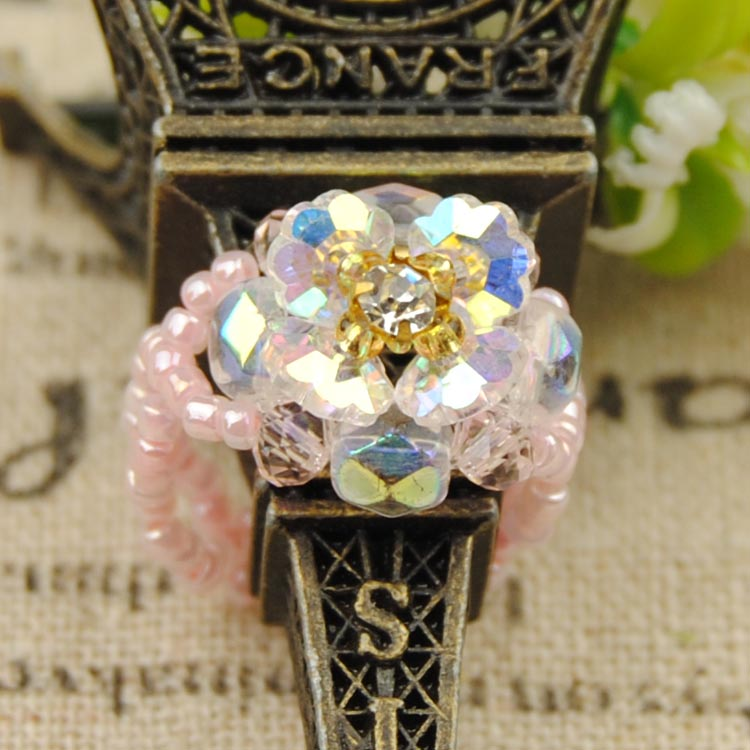Diy handmade beaded jewelry material package snowflake piece of fashion in the hole plum crystal diamond ring tail ring original