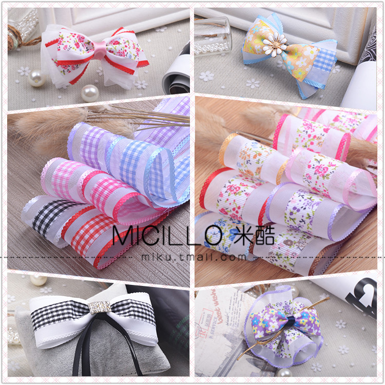 Diy handmade bow hair jewelry materials accessories jewelry accessories 38mm rose/fine plaid ribbon