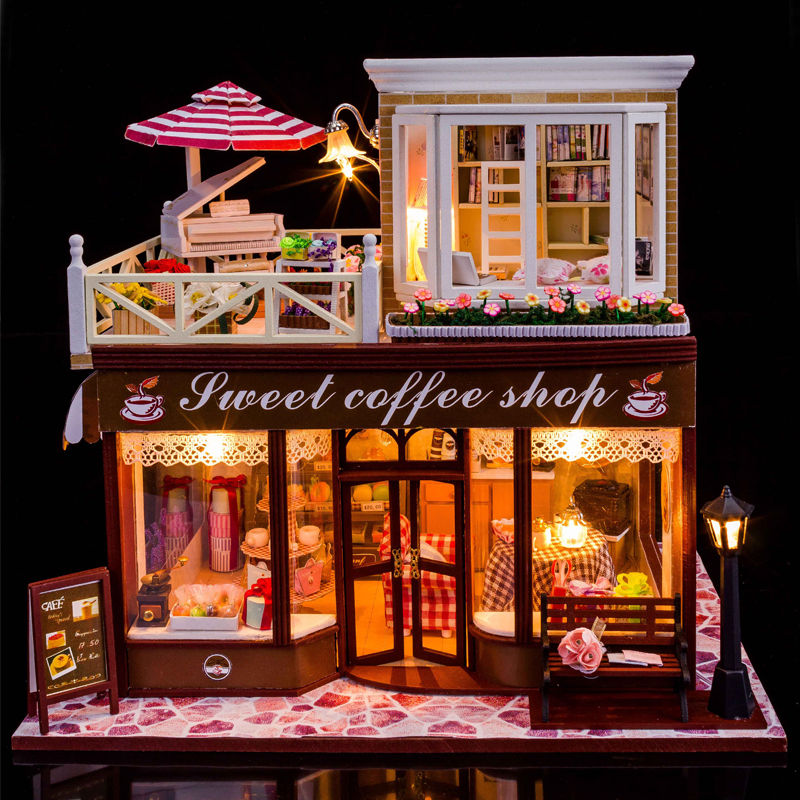 Diy handmade cabin house architectural model assembled large villa coffee house birthday girl toys