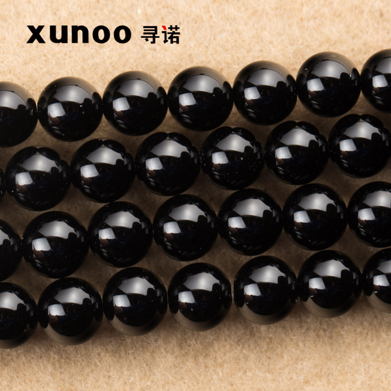 Diy handmade jewelry accessories material/natural crystal black agate 4-20ma 20mm semifinished string beads loose beads jewelry