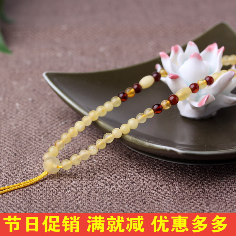 Diy upscale natural beeswax amber amber blood amber necklace pendant rope gold emerald jade pendant rope pei red string