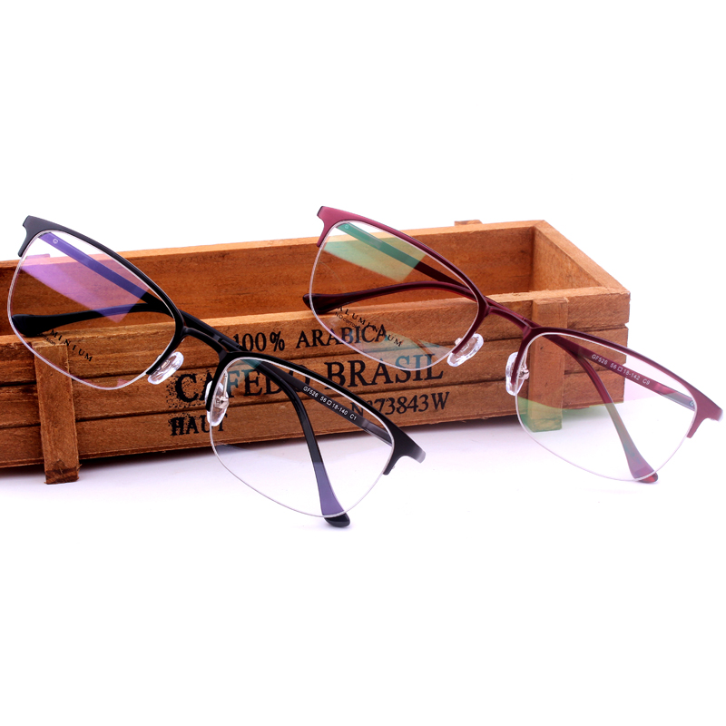 Diya long finished half frame glasses frame myopia frames men and women aviation aluminum magnesium alloy frame glasses frame optical glasses