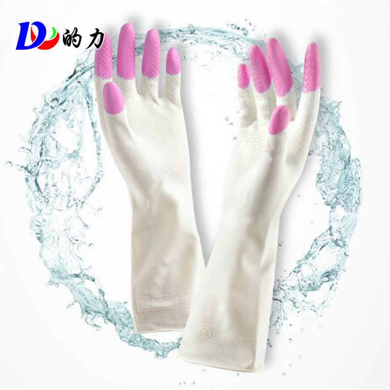 Dl force thick rubber gloves plus velvet glove extended housework laundry dishwashing gloves warm gloves waterproof gloves