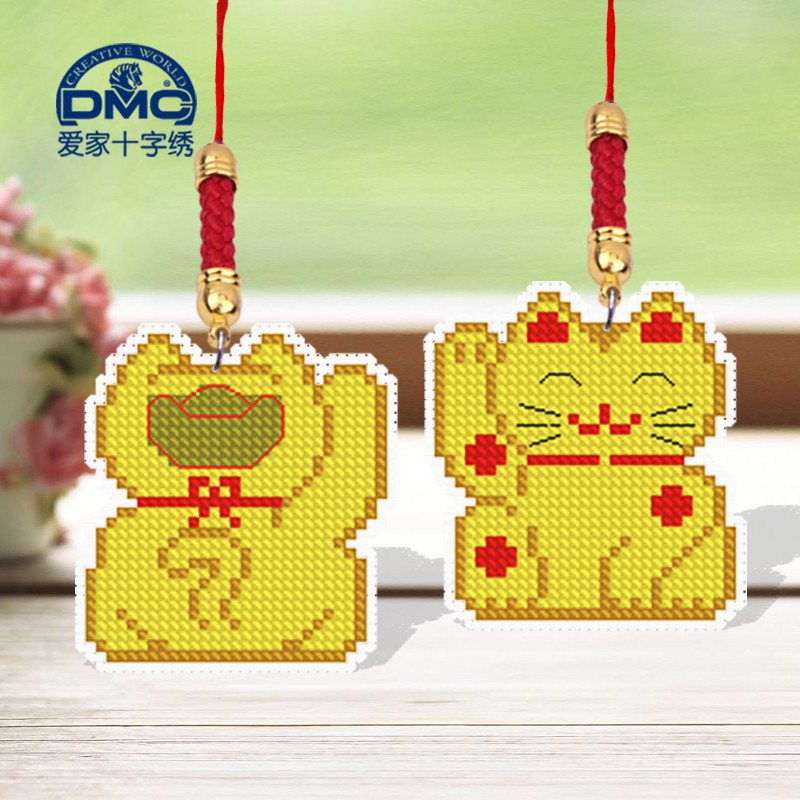 Dmc cross stitch sided embroidery sided embroidery phone chain pendant small pendant diy lucky cat 61*34 gretl