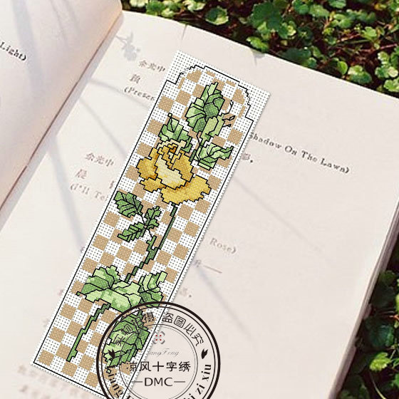 Dmc embroidery stitch new living room bookmarker 027 yellow roses